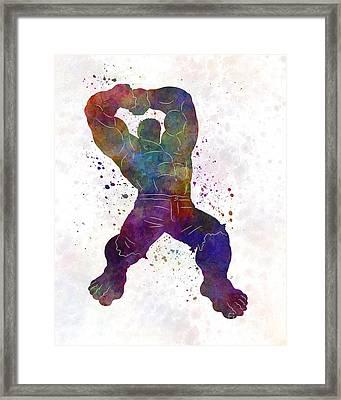 Hulk 02 In Watercolor Framed Print