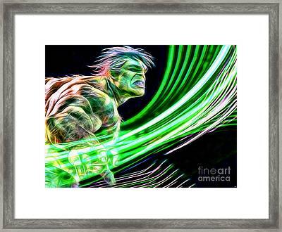 Hulk In Color Framed Print by Daniel Janda