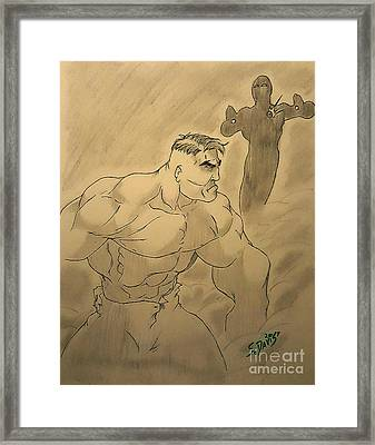 Hulk V Stark Framed Print by Scott Davis