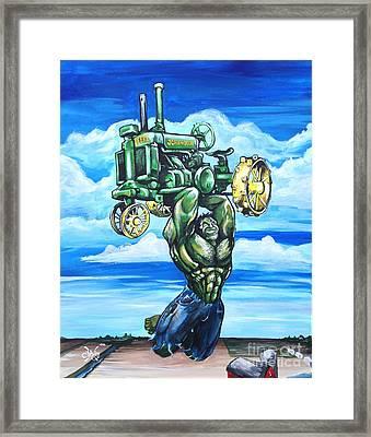 Hulk With John Deere Framed Print by Tyler Haddox