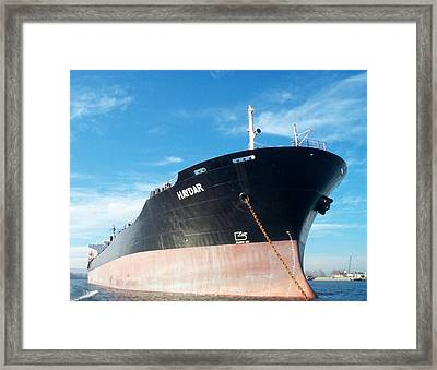 Hull Of Vessel Haydar At Anchor Framed Print by Alan Espasandin