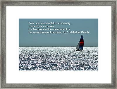 Humanity Is An Ocean Framed Print by Don Columbus