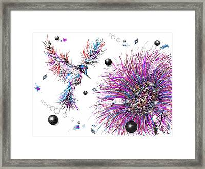 Framed Print featuring the digital art Humming Bird And Flower by Darren Cannell