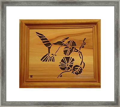 Humming Bird And Flower Framed Print by Russell Ellingsworth