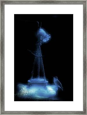 Humming Bird At Sunrise Blue Vertical Framed Print