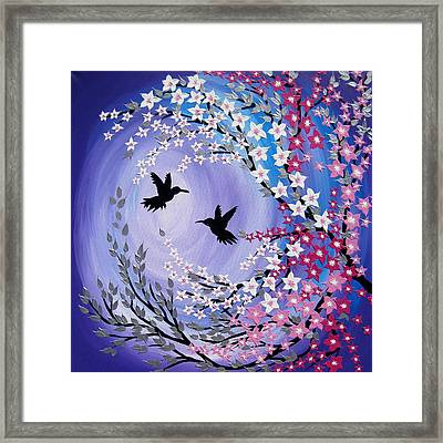 Humming Bird Fantasy Framed Print by Cathy Jacobs