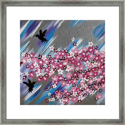 Humming Birds And Sakura Framed Print by Cathy Jacobs