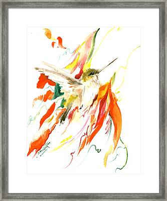 Hummingbird And Flame Colored Flowers Framed Print by Suren Nersisyan