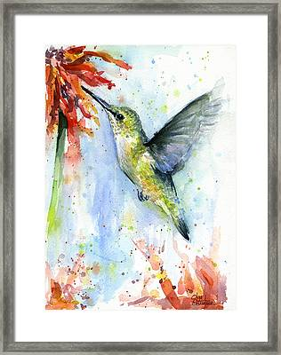 Hummingbird And Red Flower Watercolor Framed Print by Olga Shvartsur