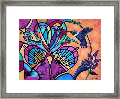 Framed Print featuring the painting Hummingbird And Stained Glass Hearts by Lori Miller