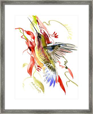 Hummingbird And Tropical Plants Framed Print by Suren Nersisyan