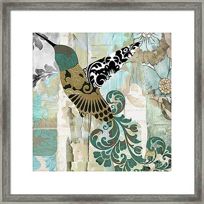 Hummingbird Batik Framed Print by Mindy Sommers