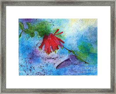 Hummingbird Batik Watercolor Framed Print