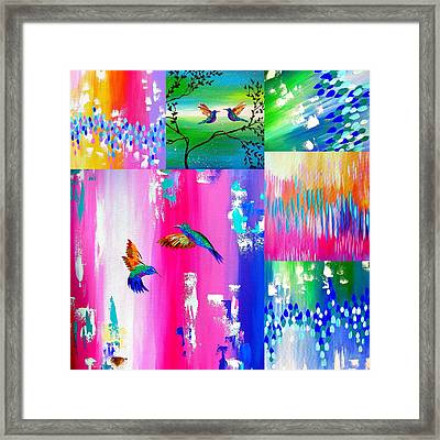 Hummingbird Collage Framed Print by Cathy Jacobs