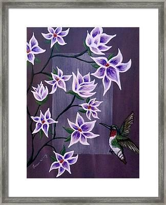 Hummingbird Delight Framed Print by Teresa Wing