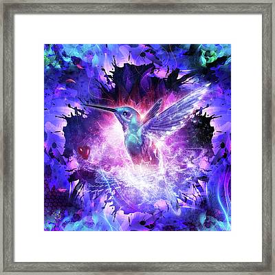 Hummingbird Love Framed Print by Cameron Gray