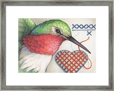 Hummingbird Handiwork Framed Print by Amy S Turner