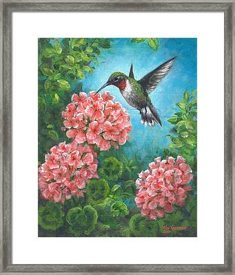 Framed Print featuring the painting Hummingbird Heaven by Kim Lockman