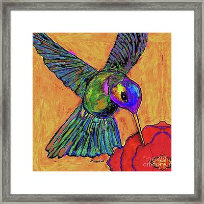 Hummingbird On Yellow Framed Print