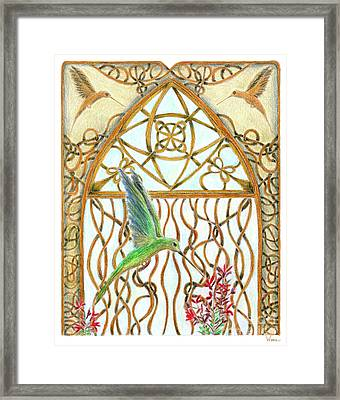 Hummingbird Sanctuary Framed Print by Lise Winne