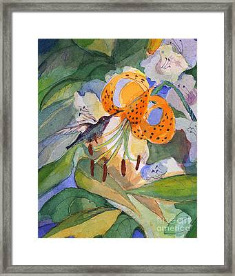 Hummingbird With Flowers Framed Print by Nancy Watson
