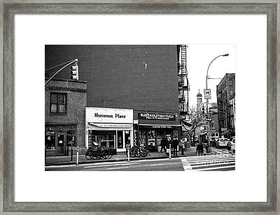 Hummus Place In The Village Framed Print by John Rizzuto