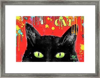humorous Black cat painting Framed Print by Svetlana Novikova