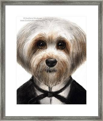 Humorous Dressed Dog Painting By Framed Print