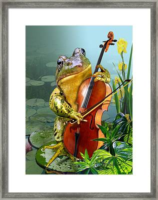 Humorous Scene Frog Playing Cello In Lily Pond Framed Print by Regina Femrite