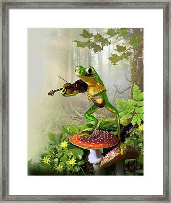 Humorous Tree Frog Playing A Fiddle Framed Print by Regina Femrite