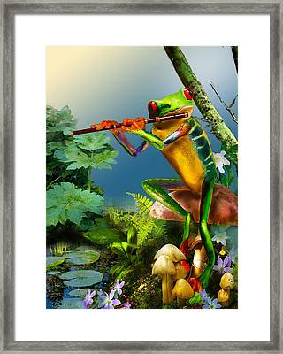 Humorous Tree Frog Playing The Flute  Framed Print by Regina Femrite