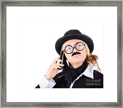 Humorous Worker With Mobile Phone Framed Print by Jorgo Photography - Wall Art Gallery