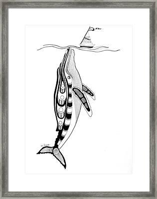 Humpback And Sailboat Framed Print by Morgan Padgett