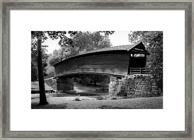 Humpback Bridge In Black And White Framed Print by Karen Wiles