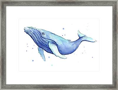 Humpback Whale Watercolor Framed Print by Olga Shvartsur