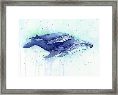 Humpback Whales Mom And Baby Watercolor Painting - Facing Right Framed Print by Olga Shvartsur
