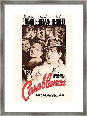 Humphrey Bogard And Ingrid Bergman In Casablanca 1942 Framed Print by Mountain Dreams