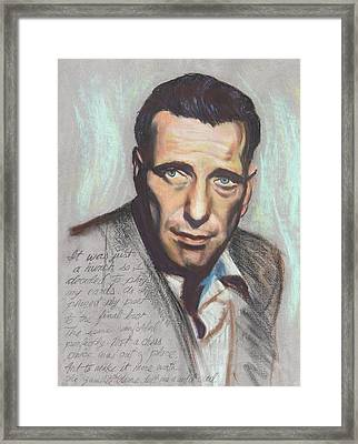 Humphrey Bogart  Not A Chess Piece Was Out Of Place Framed Print by Kean Butterfield