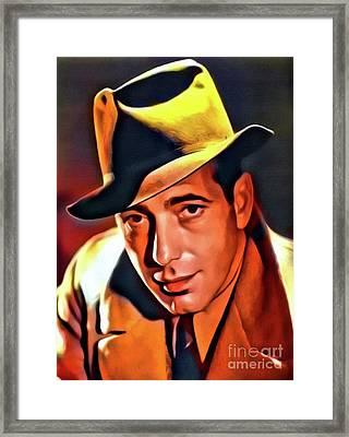 Humphrey Bogart, Vintage Hollywood Legend. Digital Art By Mb Framed Print by Mary Bassett