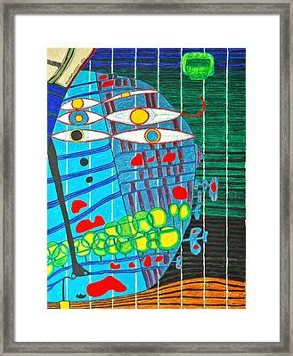Hundertwasser Blue Moon Atlantis Escape To Outer Space In 3d By J.j.b Framed Print