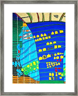 Hundertwasser Blue Moon Atlantis Escape To Outer Space Framed Print by Jesse Jackson Brown
