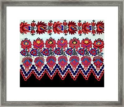 Hungarian Folk Art Embroidery From Sioagard Framed Print