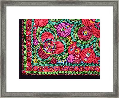 Hungarian Magyar Matyo Folk Embroidery  Framed Print