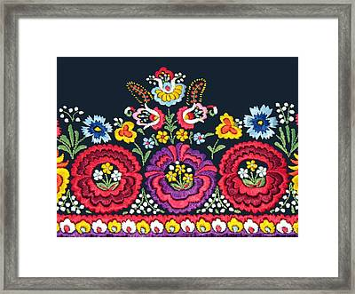 Hungarian Magyar Matyo Folk Embroidery Detail Framed Print
