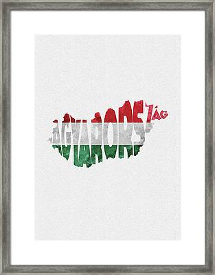 Hungary Typographic Map Flag Framed Print