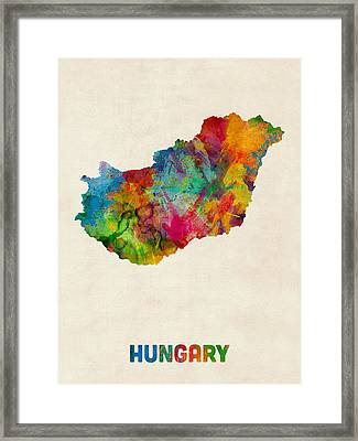 Hungary Watercolor Map Framed Print by Michael Tompsett