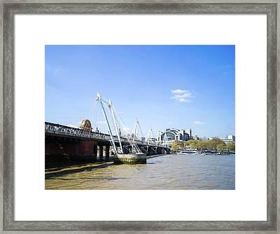 Framed Print featuring the photograph Hungerford Bridge And Golden Jubilee Bridges by Stewart Marsden