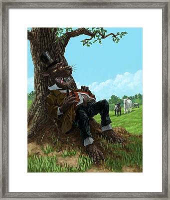 Hungry Bad Wolf In Field With Little Sheep Framed Print by Martin Davey