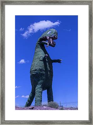 Hungry Dinosaur Head In The Clouds Framed Print by Garry Gay