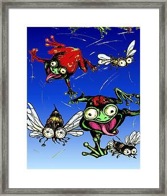Hungry Frogs Framed Print by Rae Chichilnitsky